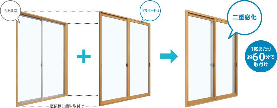 今ある窓にプラマードUをつけて二重窓に